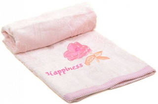 Нежное лицевое полотенце 90х50 махра F-779 B pink розовое