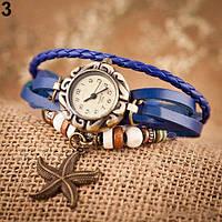 Женский браслет часы кожаный ремешок