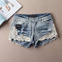 Женские стильные джинсовые шорты с кружевом, фото 1