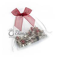 Подарочный мешочек бантик белый с красным бантиком