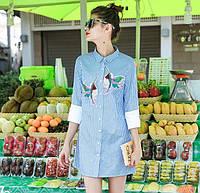 Женское стильное платье-рубашка с птичками, фото 1