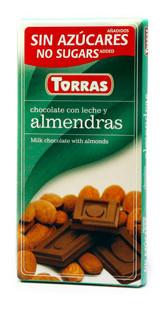 Молочный  шоколад Torras c миндалем  без сахара  , 75 гр