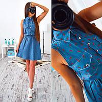 Женское модное джинсовое платье с вишенками
