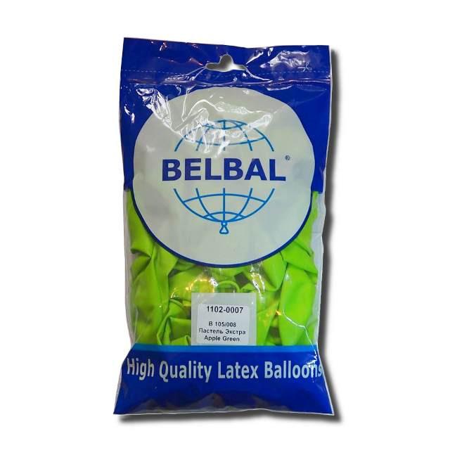 """Воздушные шары Belbal пастель 12""""(30 см) зеленое яблоко 50 шт"""