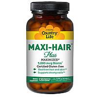 Витамины для волос и ногтей, Country Life, Gluten Free, Maxi Hair Plus, 120 капсул на растительной основе
