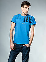 Футболка мужская голубая с надписью