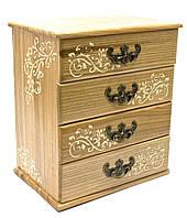 Шкатулка-комод на 4 ящика из натурального дерева