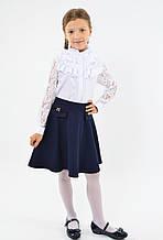 Школьная нарядная расклешенная юбка синяя