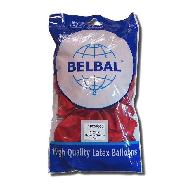 """Красный пастель 12""""(30 см) Belbal (упаковка 50 шт)"""