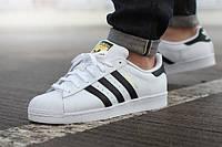 Мужские кроссовки Adidas Superstar, белые с черными полосками, фото 1