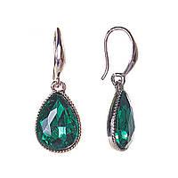 Серьги капля 1х1,5см кристалл зеленый