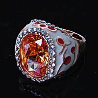 [18,19,20] Перстень пышный страза эмаль узоры  янтарный белый 20