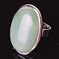 """Кольцо Нефрит гладкая оправа  """"Б"""" овальный  камень 3,2*2,2см без р-р"""