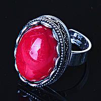 """Кольцо  Коралл оправа  """"зубчик"""" """"М"""" овальный  камень 2,1*1,6 см без р-р"""