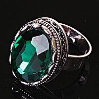 """Кольцо   оправа  """"зубчик"""" """"М"""" овальный  зеленый Кристалл  2,1*1,6 см без р-р"""