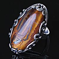 """Кольцо Тигровый глаз оправа  """"Ажур Маркиз"""" """"  овальный  камень   3,3*1,8см без р-р"""