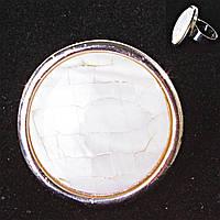 Кольцо без р-р  крупное круг Перламутр