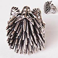 Кольцо на резинке крупная ежик еж SILVER