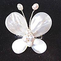 Кольцо без р-р  бабочка плетение Перламутр белый