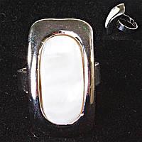 Кольцо без р-р  овал в прямоугольной оправе Перламутр
