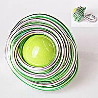 [18,19,20] Кольцо гнездо крученое круг салатовая бусина