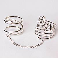 [15,16,17,18,19] Кольцо на два пальчика спираль страза сильвер 17