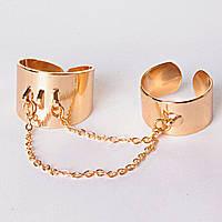 [15,16,17,18,19] Кольцо на два пальчика хомуты на цепочке голд 15