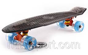 Пенниборд LED WHEELS TRANSPARENT FISH (світяться колеса)