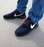 Кроссовки мужские Nike Roshe Run 2016 (рош раны) черные в точку, фото 1