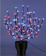 СВЕТОДИОДНОЕ ДЕРЕВО, вазон  БОНСАЙ ЦВЕТУЩИЙ, 60 см(бело-розовый)