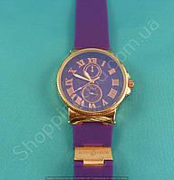Женские часы Ulysse Nardin 6600B золотые на фиолетовом силиконовом ремешке обычная застежка 114169