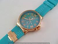 Женские часы Ulysse Nardin 6600B золотистые на бирюзовом силиконовом ремешке стандартная застежка 114170
