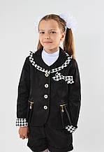 Пиджак школьный с оригинальной окантовкой воротника, бантом, размер 122,128,134,140,146, синий, черный