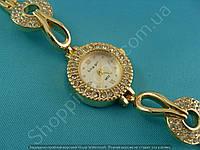 Часы King Girl 9632 женские золотистые с белым циферблатом в стразах