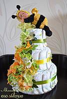 """Торт  """"Медовый малыш"""" с пупсом пчелой Анны Геддес 60 штук"""