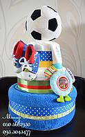 """Торт из памперсов """"Футболисту"""" 60 штук. Подарок на выписку."""
