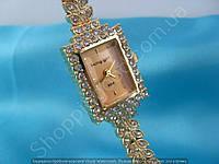Часы King Girl 9504 женские золотистые с золотым циферблатом в стразах прямоугольные 114179