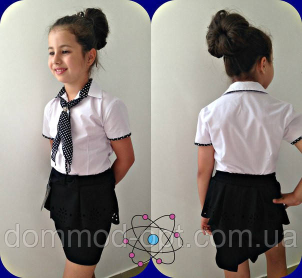 Дитяча красива біла блузка з краваткою Горох 632