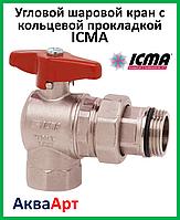 """ICMA Угловой шаровой кран с кольцевой прокладкой на резьбе 1"""" (арт. 225)"""
