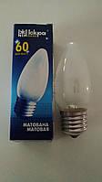 Лампа накаливания Искра свеча 60Вт, E27, матовая