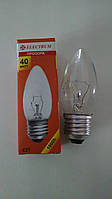 Лампа накаливания Electrum свеча 40Вт, E27, прозрачная