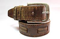 Ремень кожаный 'Original' 40 мм коричневый тертый со строчкой и широкой вставкой
