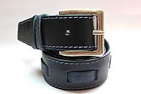 Ремень кожаный 'Original' 40 мм темно-синий с синей строчкой и широкой вставкой