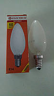 Лампа накаливания Electrum свеча 60Вт, E14, матовая