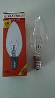 Лампа накаливания Electrum свеча 60Вт, E14, прозрачная