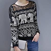 Блуза женская с принтом слоны