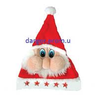 Шапка Деда мороза, 5 звезд, мигающая,с мордочкой