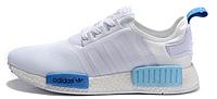 Мужские кроссовки Adidas NMD Runner White (Адидас НМД) белые