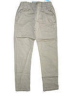 Летние котоновые  брюки для мальчика на резинке бежевые Grace 134-164р.