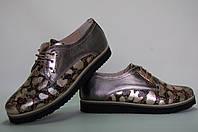Туфли женские на ровной подошве кожаные на шнурках 40, , броза